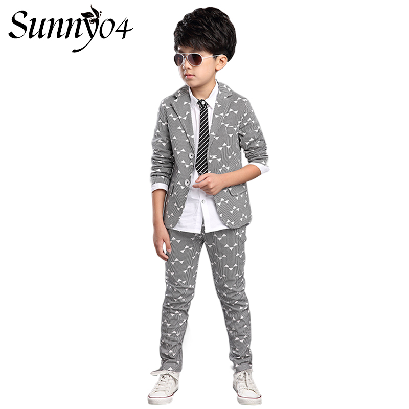Boys Suits 2017 Spring Autumn New Style Children Kids Wedding Party Striped Clothes 2 Pieces Sets Gentleman Formal Cool Outfits 2018 new children clothing set england kids clothes gentleman boys party wedding suits baby boy formal plaid long sleeved sets
