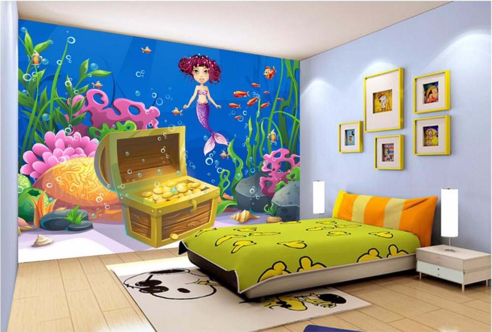 Custom photo 3d wallpaper room mural cartoon underwater for Cartoon mural wallpaper