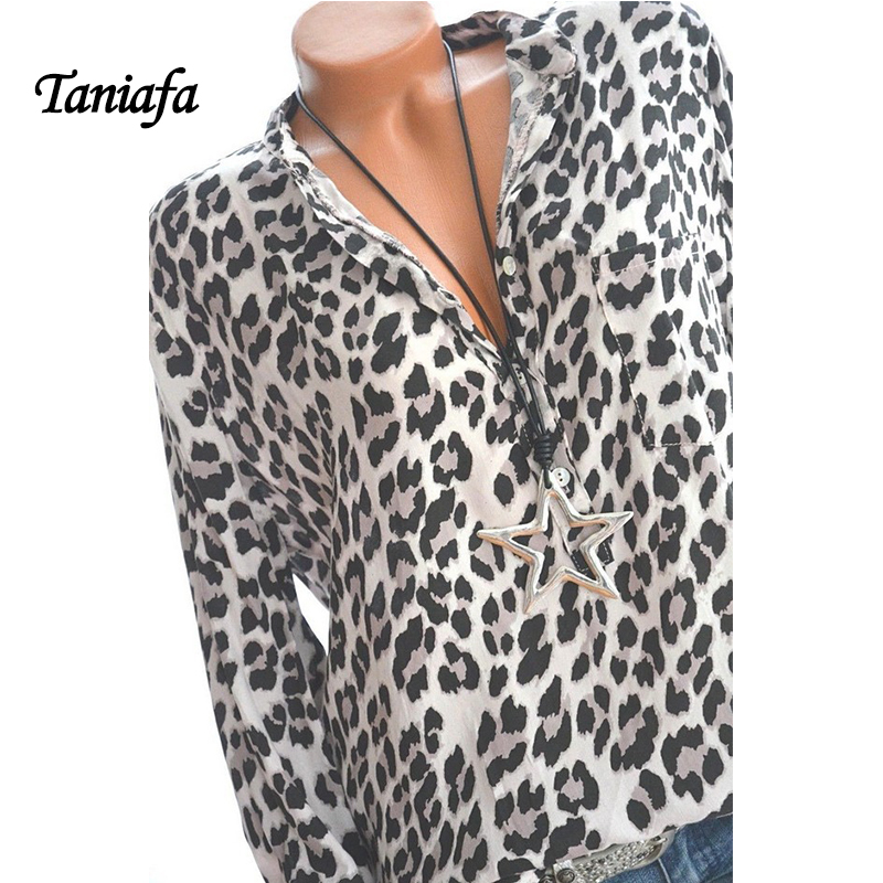 2018 New Arrival Women Blouses Leopard Print Long Sleeve Fashion V-neck Shirt Sexy Casual Office Ladies Blousas Tops Plus Size 5