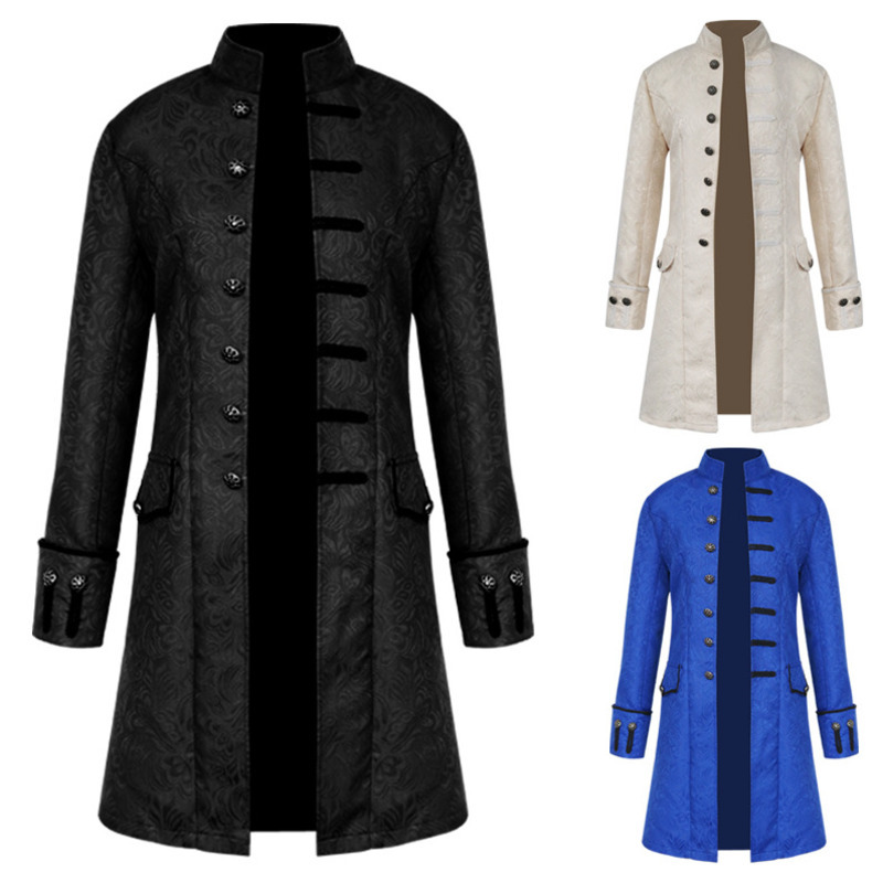 Mens Coat Fashion Steampunk Vintage Tailcoat Jacket Gothic Victorian Frock Coat Men's Uniform Costume Thin 3 colour