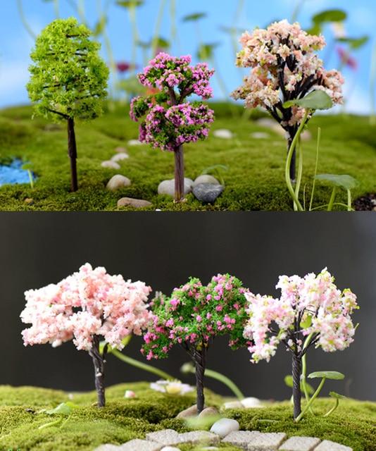 8pcs Artificial Trees Doll House Tools Sand Model Miniatures Fairy Garden  Terrarium Bottle Mini Plants Home