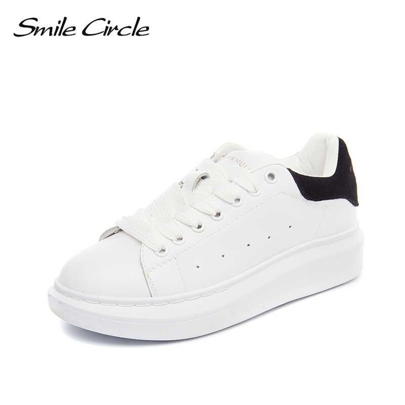 Smile Circle Big Size 35-43 Spring Autumn Genuine Leather Sneakers Women  White Shoes Fashion c8ae62fd1cc2