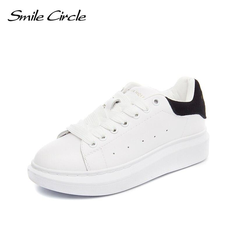 Sourire Circle grande taille 35-43 printemps automne en cuir véritable baskets femmes blanc chaussures de mode chaussures à lacets plate-forme pour les femmes