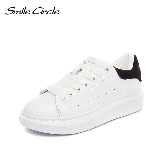 6730fb04955a0 Sourire Circle grande taille 35-43 printemps automne en cuir véritable baskets  femmes blanc chaussures