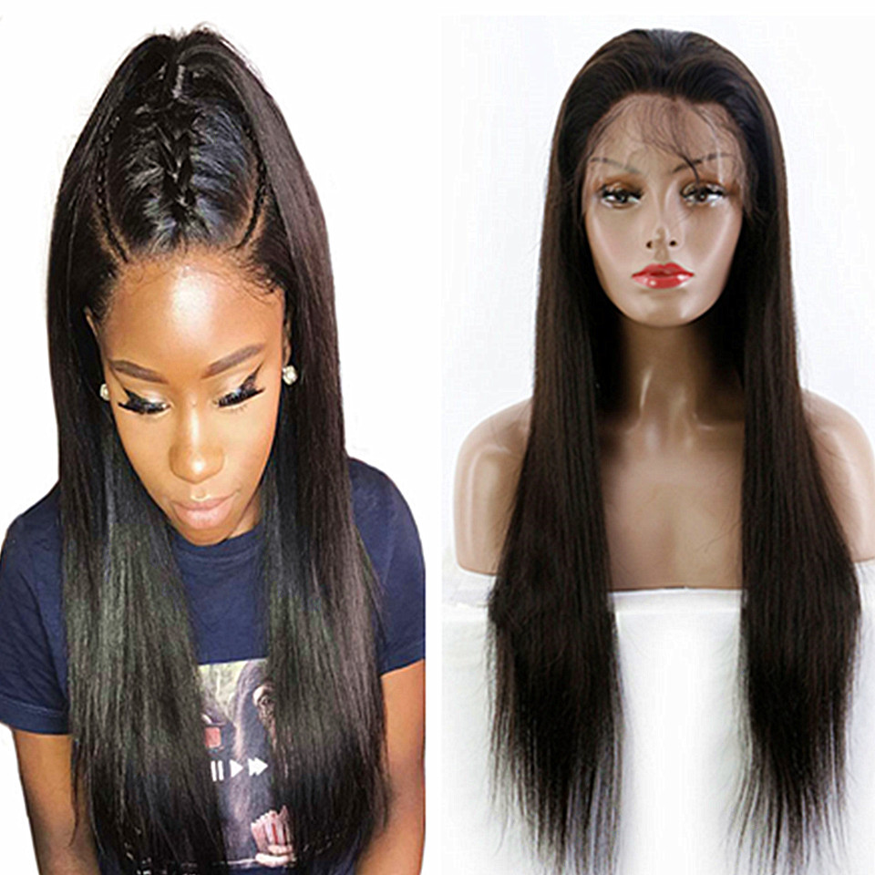 straight human lace front wig remy