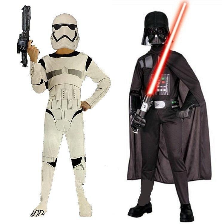Niños carnaval ropa Star War Storm Trooper Darth Vader Anakin Skywalker ropa del traje del Partido de Cosplay de los niños máscara del Cabo