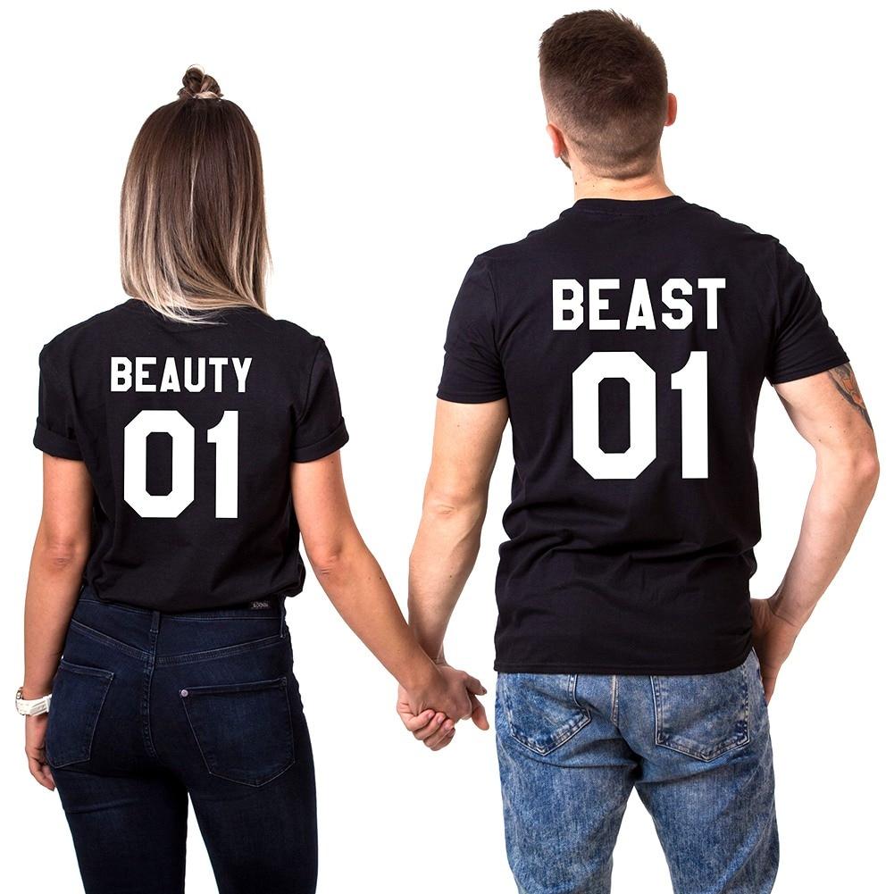 Couple T-Shirt Beauty And Beast Boyfriend Girlfriend Novelty Gift Wife Husband Harajuku Style Camisetas Family Shirt