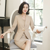 2019 Summer Ol Uniform Company Clothing Business Women's Formal Top Lady Office Lady Blazer Skirt 2 Pieces Suit