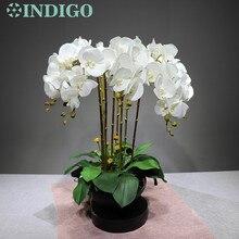 Индиго-3D печать лепестки фаленопсис белые орхидеи(7 цветов/стебель) Настоящее прикосновение Свадебные цветы Цветочные партии