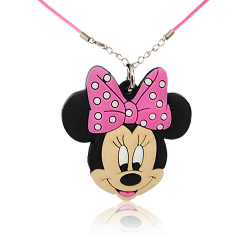 2 pçs/lote Mickey Minnie Silicone Colar de Jóias Pingentes de Moda Encantos DO PVC Figuras Dos Desenhos Animados Decoração Pequeno Presente Para As Crianças