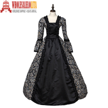 Högkvalitativa Southern Belle Renaissance Georgian Gothic Dress Gown Steampunk Reenactment Theatrical Cosplay Kostym