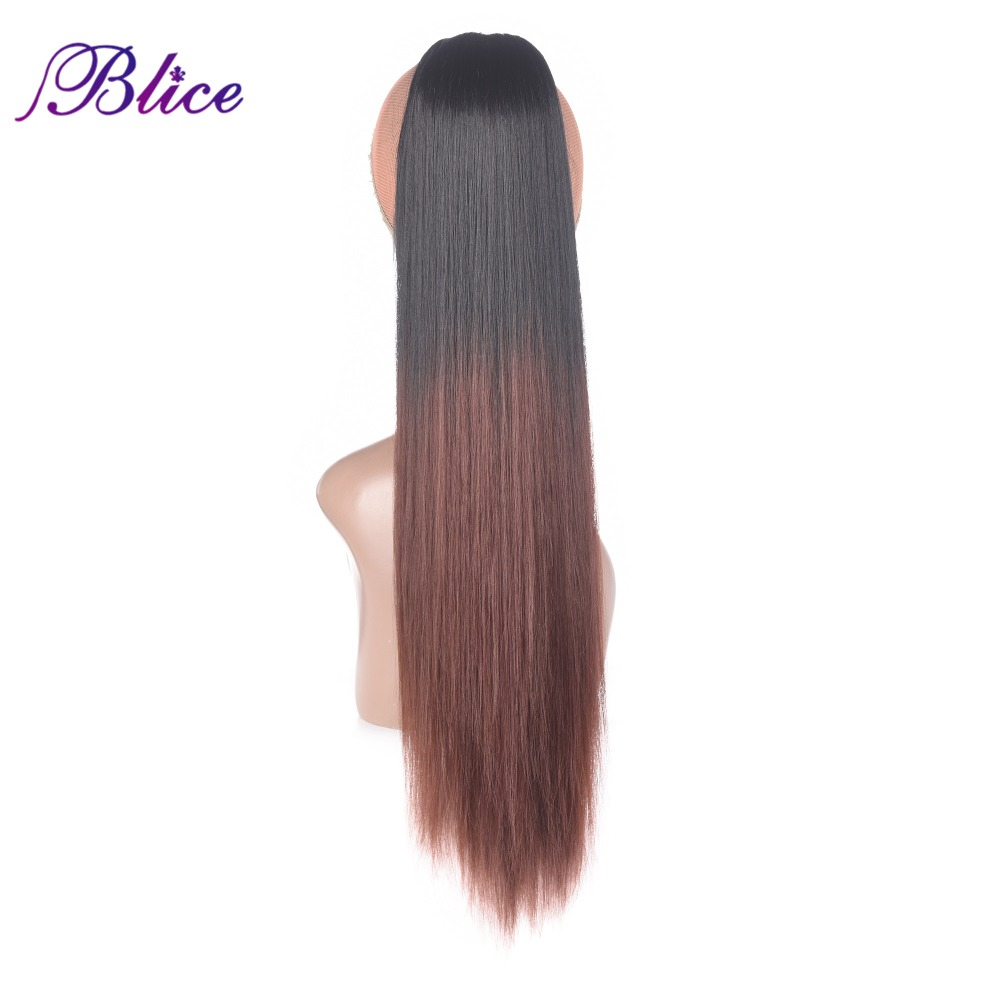 Blice Synthetic Straight Ponytails Hairpiece 18-24inch Heat Resistant Drawstring Hair Ponytail Extensions Omber Color For Women