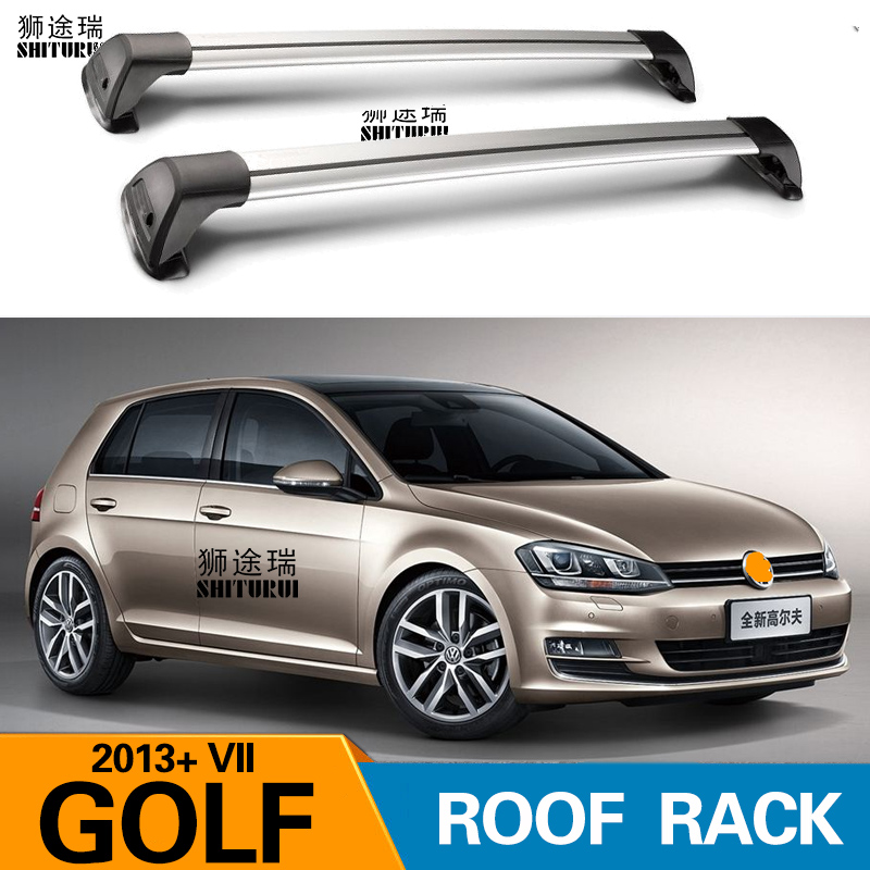 2 pcs For VOLKSWAGEN GOLF 6 7 R TDI 2013+ 2018 2008 roof bar car special aluminum alloy belt lock Led shooting RACK CORSS rack