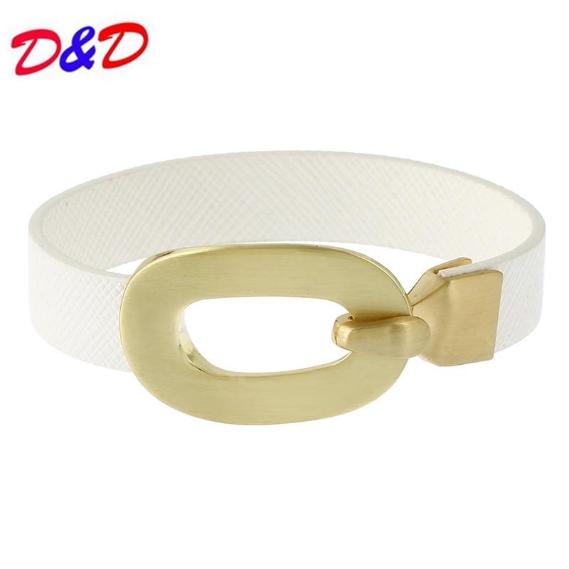 2018 New Monogram Leather Bracelet Metal Generous Simple Cord Alloy Leather Cuff Bracelet For Women Men