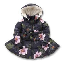 Winter Girls Hooded Coat Printed Flowers Zipper Winter Coat For Girls Kids Padded Jacket Casual Children's Outerwear 2-9 yrs