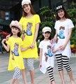 Familia Ropa Madre e Hija Madre Hija A Juego de Ropa de Verano de Algodón de Manga Corta Dots Top + Leggings de Rayas Conjuntos
