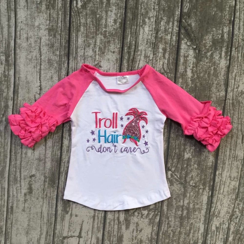 Fall new baby girls three quarter icing boutique troll hair don't care white hot pink top shirts cotton clothing cotton raglans