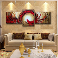 Sans cadre 3 Panneau Rouge Noir Vol D'oiseau Peint À La Main Abstraite Moderne de Décor de Mur D'image Peinture À L'huile Sur Toile Pour Le Salon