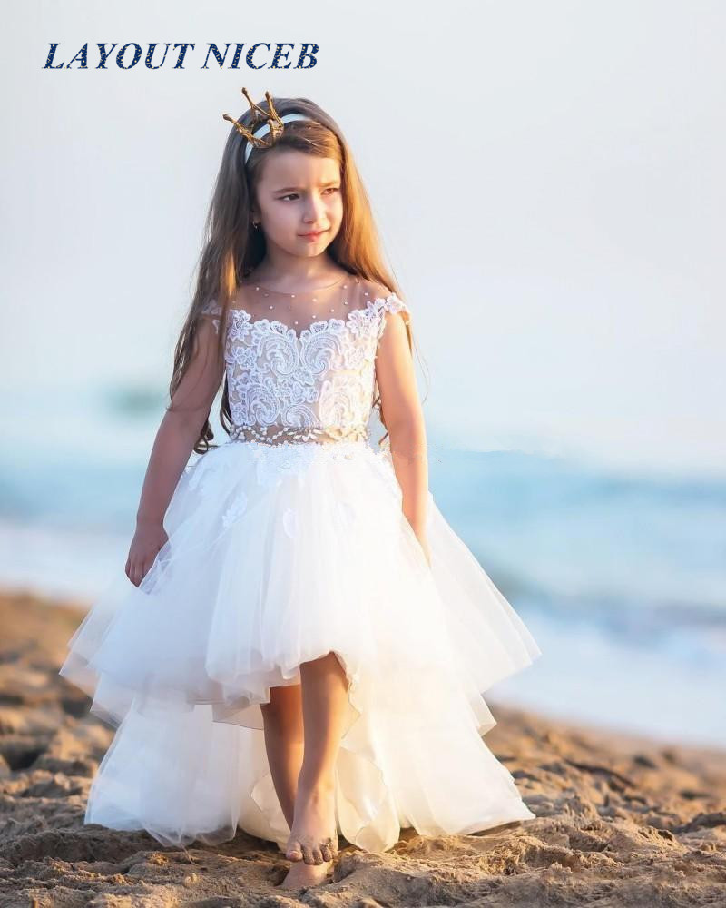 Cute High Low   Flower     Girls     Dresses   For Weddings Sheer Neck Cap Sleeves Lace Pearls Tulle Backless Toddler Holiday Birthday Party