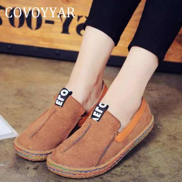 3fa3989f58c4 COVOYYAR 2019 Big Round Toe Women Shoes Spring Autumn Vintage Flats Woman  Sewing Shoes Lady Loafers Slip On Sizes 35-42 WFS671