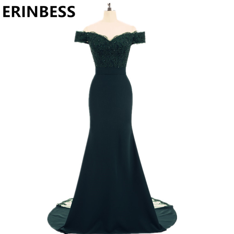 ERINBESS Robe De Soiree Mermaid Hunter Green Burgundy Long Evening Dress Party Elegant Vestido De Festa