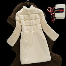 Top quality natural rabbit fur coats women stand collar wave cut real fur coat outerwear 2016