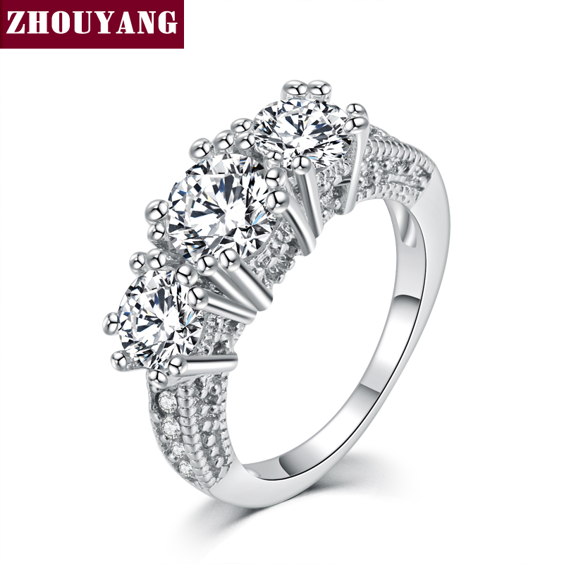 Silver Color Cubic Zirconia Bijoux Fashion Wedding & Engagement Ring Jewelry For Women As Promise Gift ZYR497