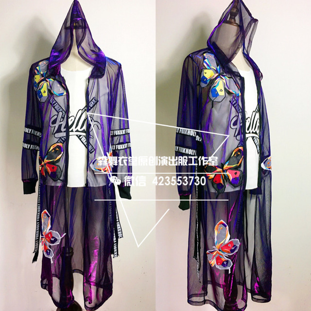 Личность мужская мода Цветные Фиолетовый флэш долго плащ костюмы Ночной Клуб Певец танцор партии шоу этап хип-хоп одежда
