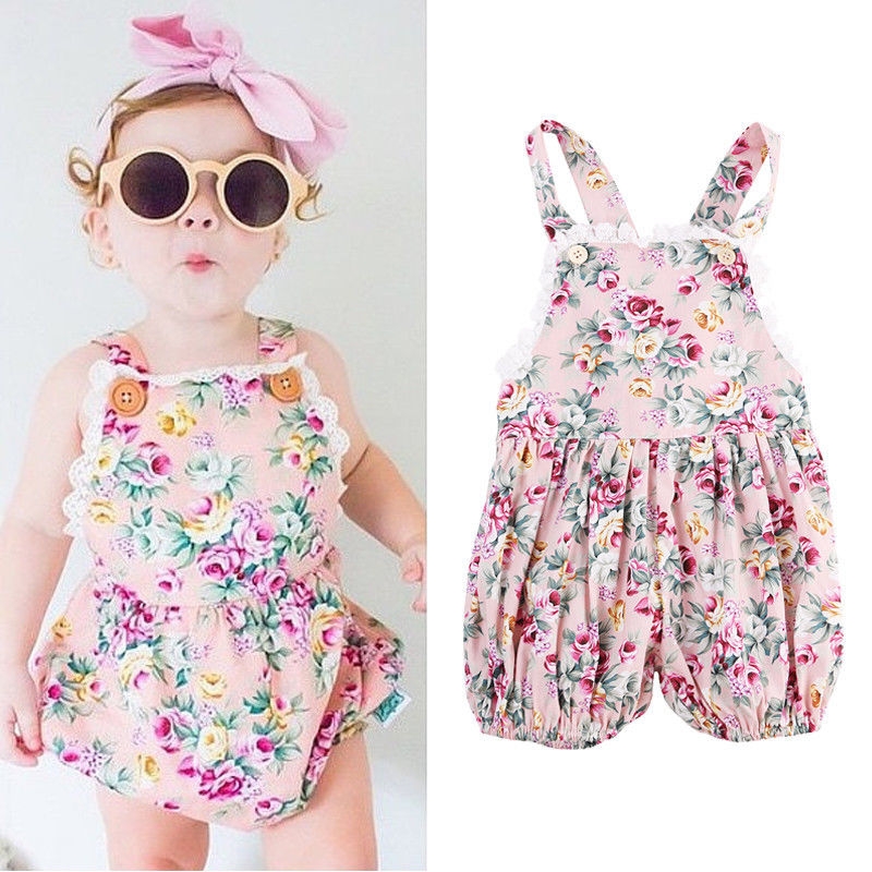 Newborn Baby Girl Infant Toddler Summer Bodysuits Strap Jumper Rose Flower Lace Jumpsuit
