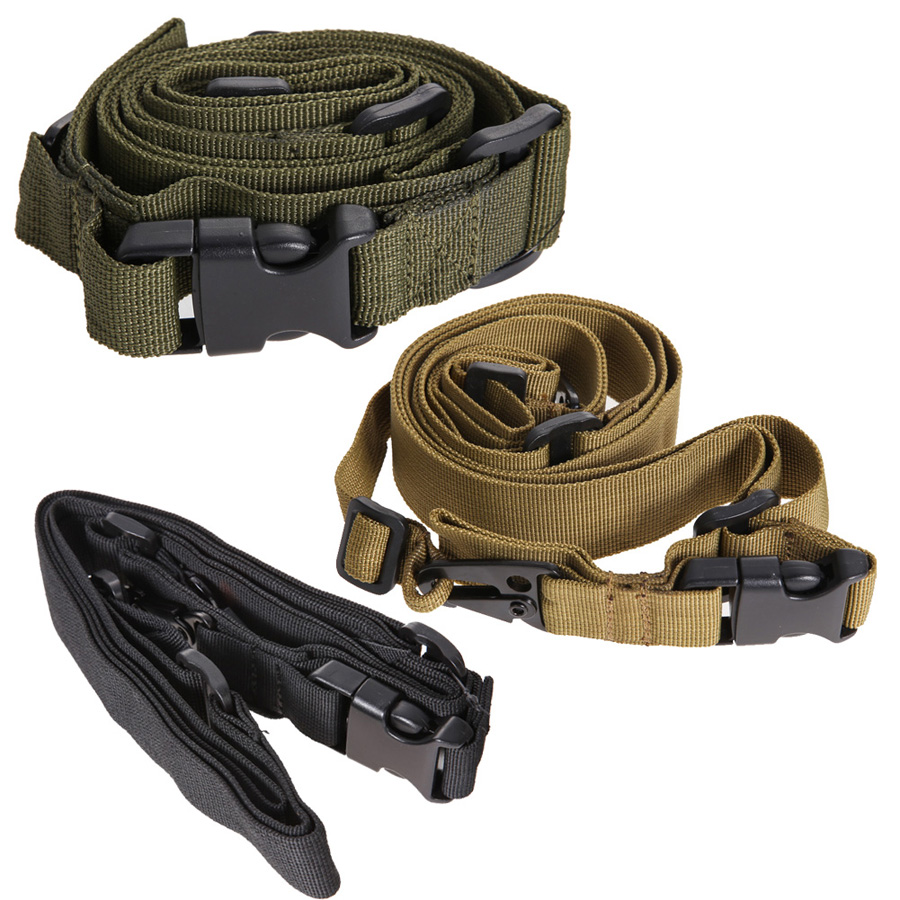 Alta calidad Durable Tactical 3 Punto Rifle Sling Bungee Sling Swivels Caza de A