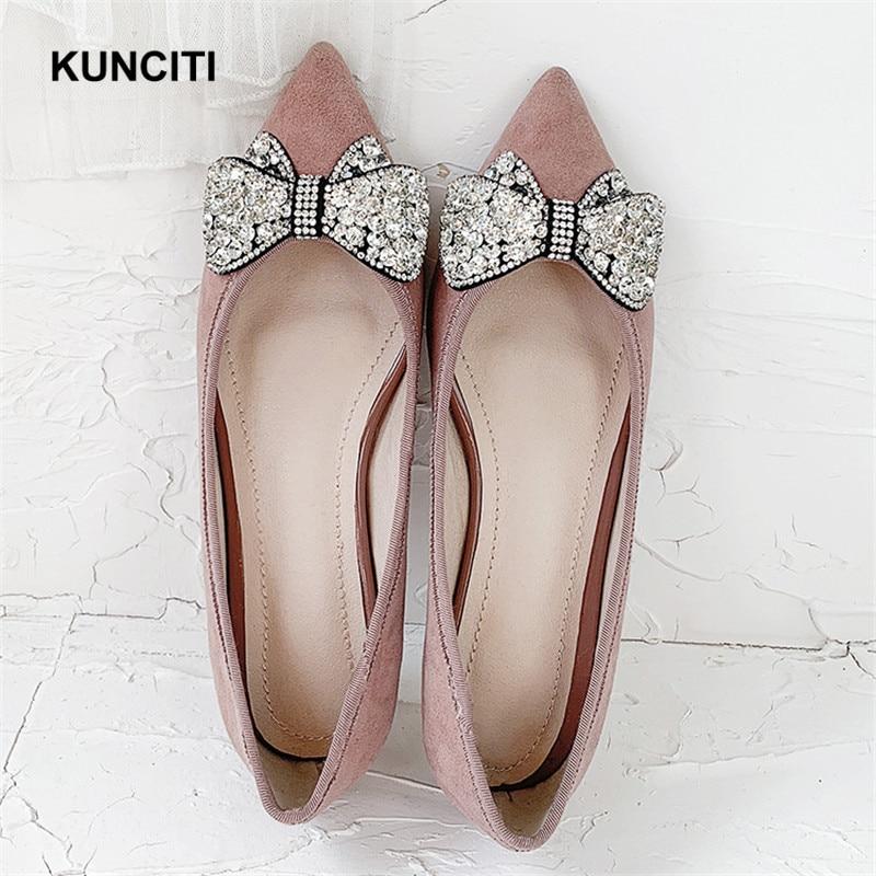 Mujeres Black Mulas Slip Oxford Pisos Punta Corbata F942 Cuero Zapatos Damas Mujer Con On Moño pink De Gamuza 2019 HET4nn
