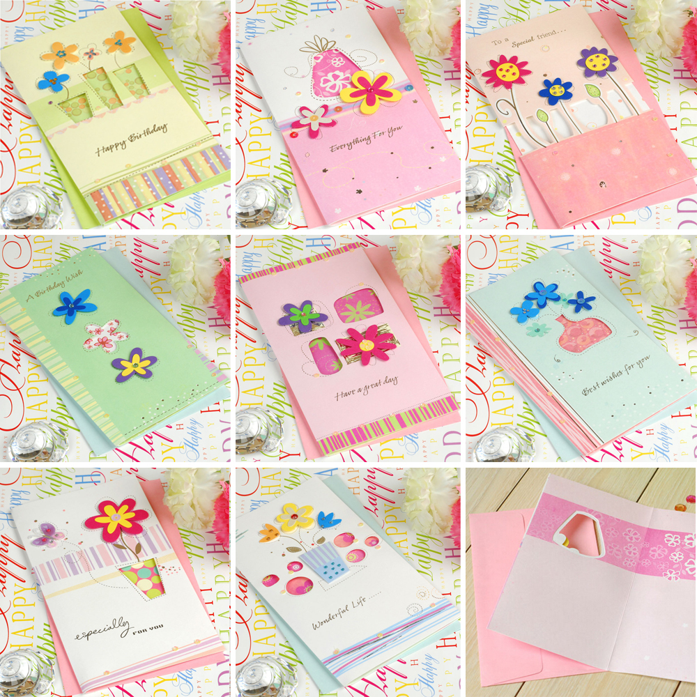 8 Sets Of Handmade Birthday Cardspaper Flower Birthday Greeting