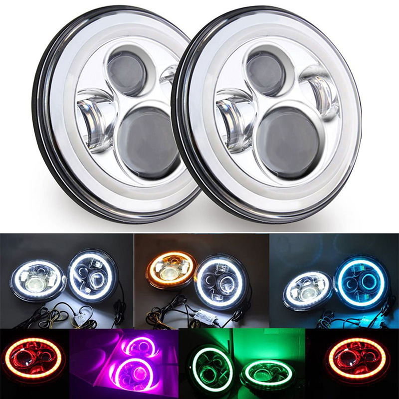 2 x 7 inch led Front headlamps headlight for Jeep Wrangler JK Hummer H1 H2 With Angel eyes halo Ring turn signal lights Chrome