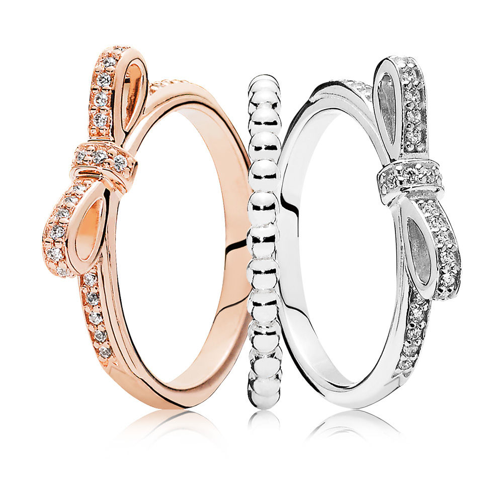 100% 925 Sterling Silver SALE - Two-Tone Bow Ring Stack Charms Rings Fit DIY Original Jewelry A set of prices two tone loose fit jumper
