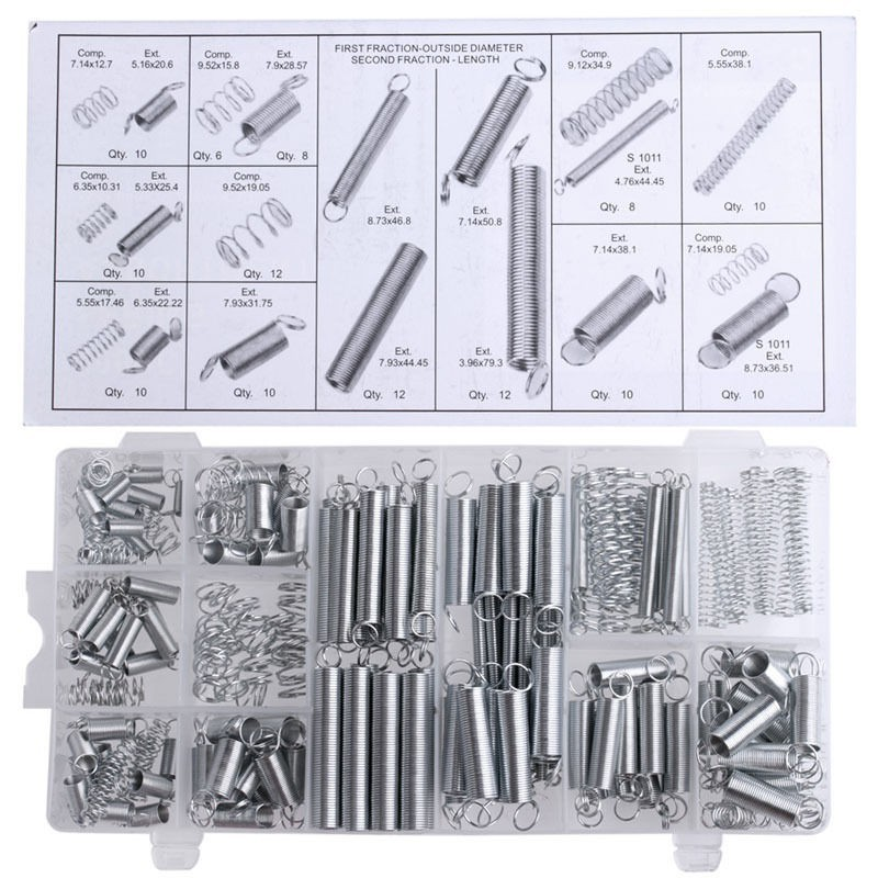 200PCS/set Flexible springs 20 Sizes Practical Metal Tension/Compresion Springs Assortment spring stack оснастка морская fladen deep sea rig for ling