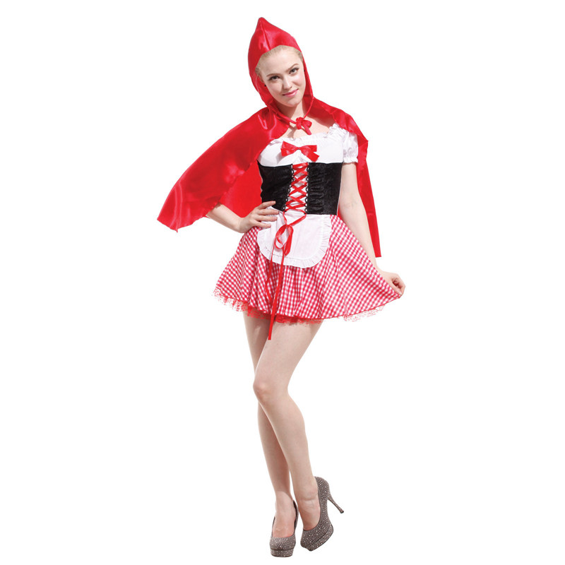 Umorden Adult Women Little Red Riding Hood Costume Fairy Tale Cosplay Fancy Dress for Purim Holiday Party Halloween Costumes