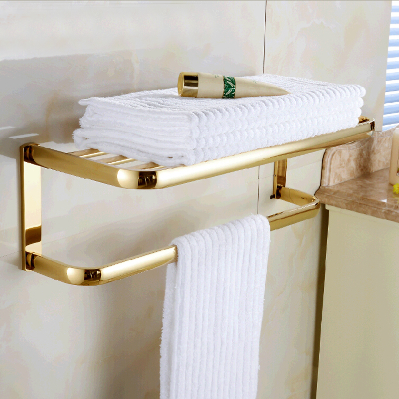 Wholesale And Retail Modern Square Golden Brass Wall Mounted Bathroom Towel Rack Shelf W/ Towel Bar Towel Hangers цена и фото
