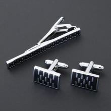 New Simple Style Rectangle Cufflinks + Tie Clip Sets Fashion Mens Shirt Cuff Links for Christmas Gifts for Men Cuff link gemelos