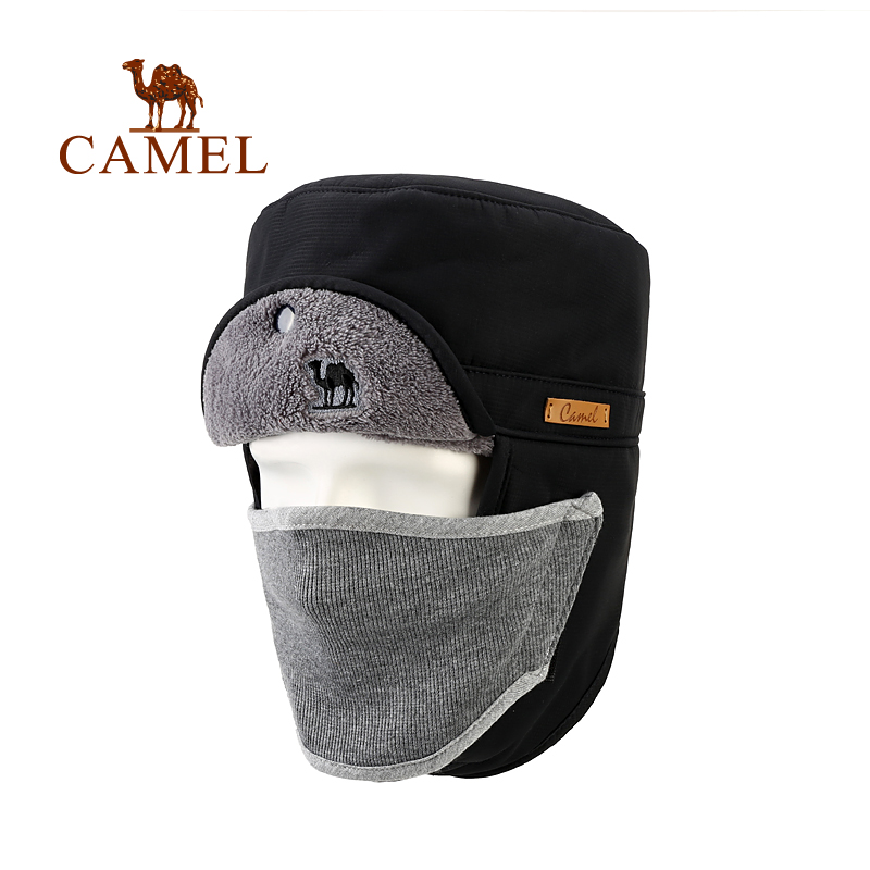 CAMEL Winter Outdoor Hat Plus Velvet Thick Thermal Windproof Full Face Mask Earmuffs Camping Hiking Skiing Cap For Men & Women fashion novelty women s men s winter warm black full face cover three holes mask beanie hat cap hot sale cai0328