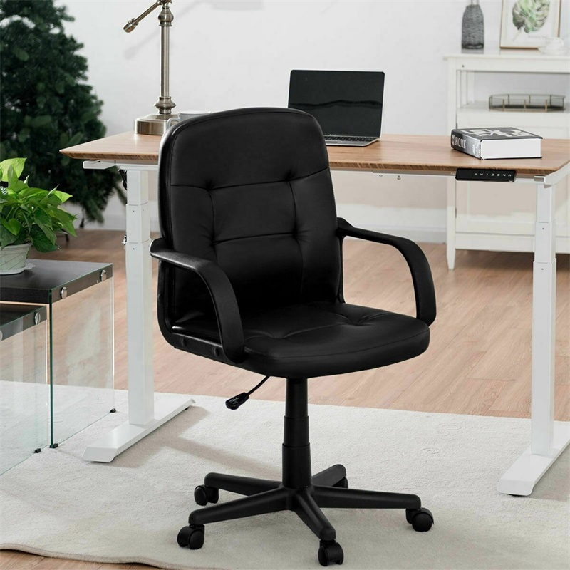 Ergonomic Mid-Back Executive Swivel Office Chair Height Adjustable Comfortable Armrests