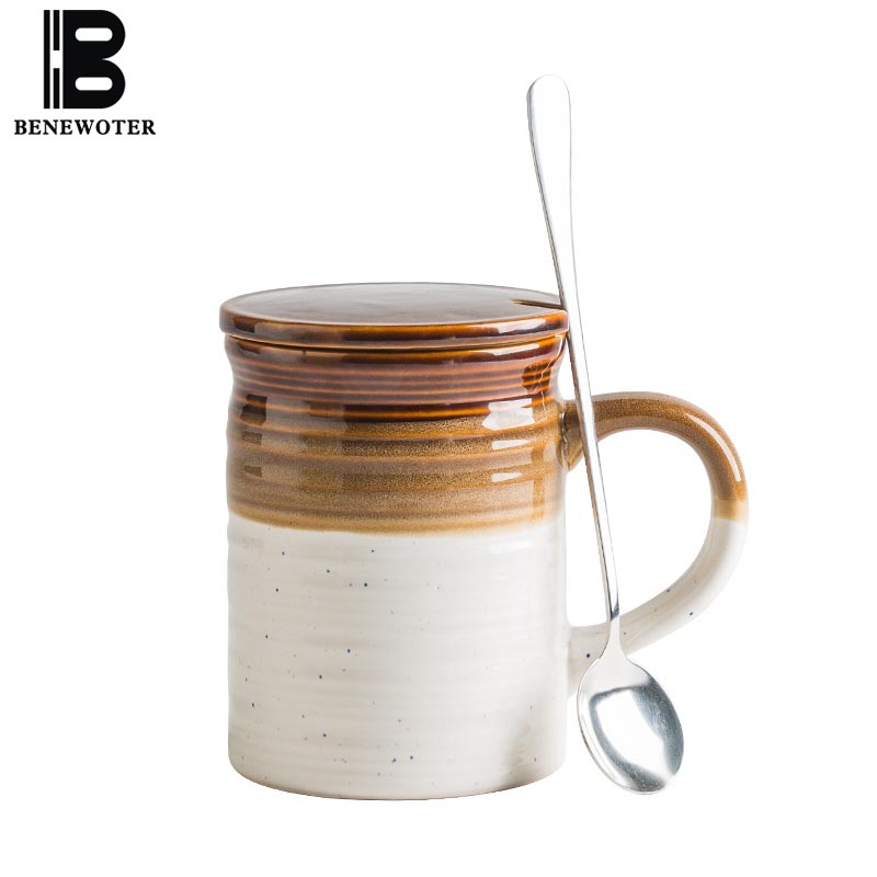 380ml Creative Coffee Cup with Lid Spoon Ceramic Water Cups Brief European Style Tea Coffee Milk Mug Office Home Drinkware Gifts|Mugs| |  - title=