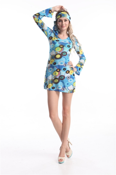FREE SHIPPING 70s Psychedelic Hippie Fancy Dress Outfit ...