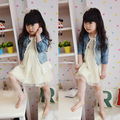 High Quality 2-7T Kids Girls Lace Cowboy Jacket Denim Top Button Costume Outfits Jean Coat