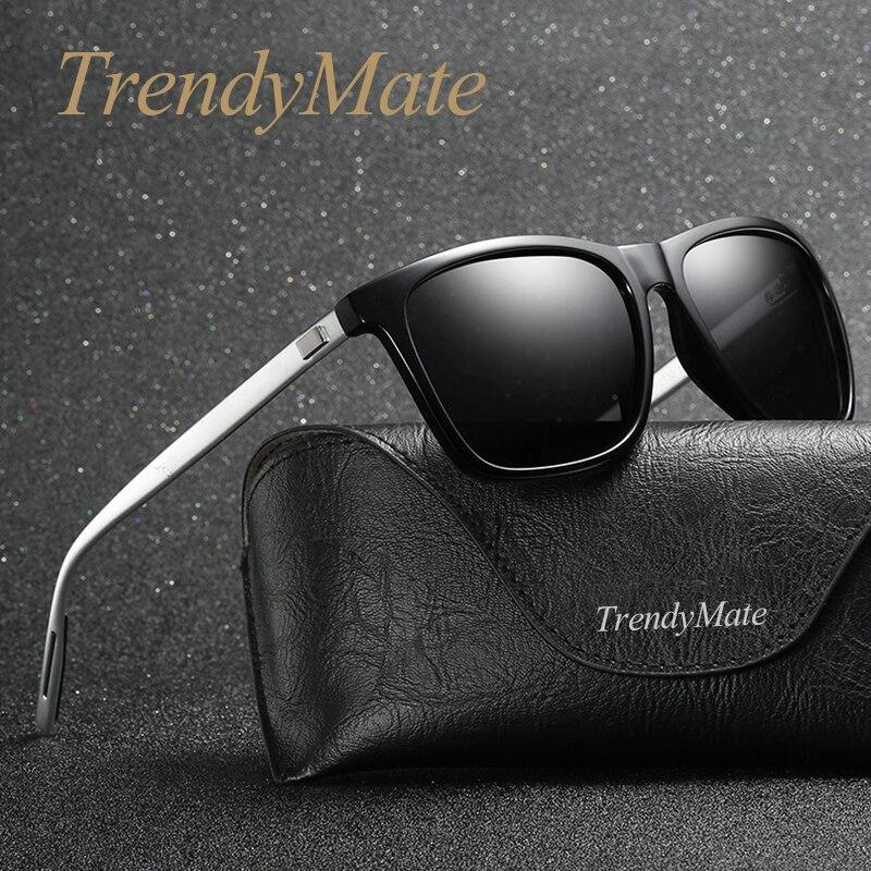 Brand Unisex Retro Aluminum+TR90 Driving Mirror Sunglasses Polarized Lens Vintage Eyewear Square Sun Glasses For Men/Women 1086T