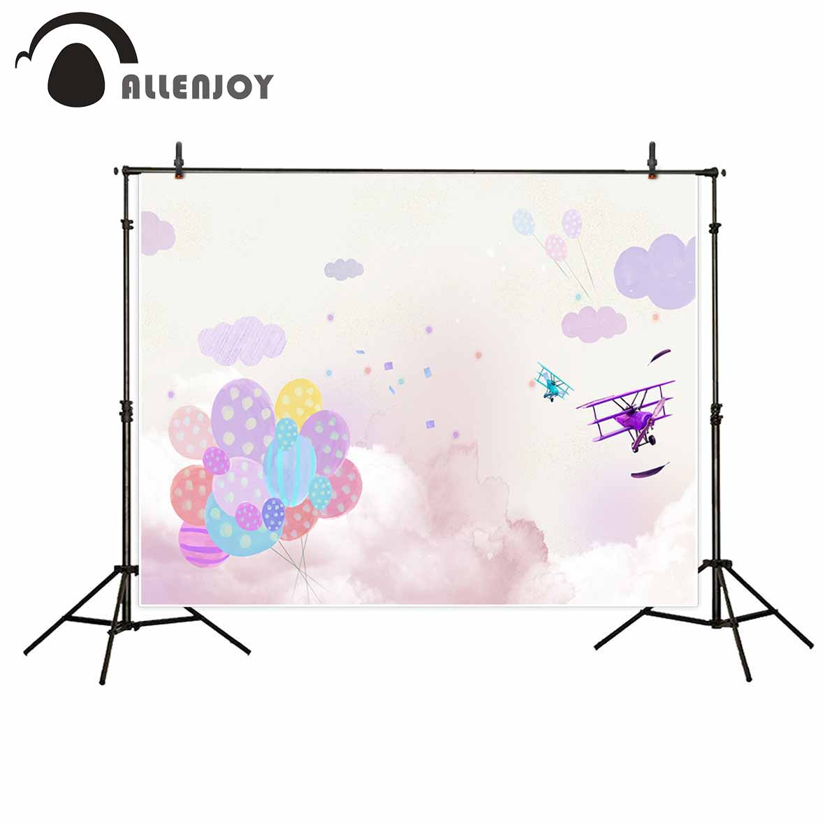 Allenjoy Balloon airplane sky cloud birthday party background decorations for home camera photographic professional