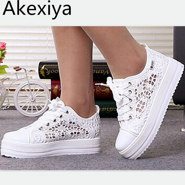 c715157038 US $18.0  Akexiya New 2017 Cutouts Lace Canvas Shoes Hollow Floral Print  Breathable Platform Women Sneakers Free Shipping-in Women's Flats from  Shoes ...