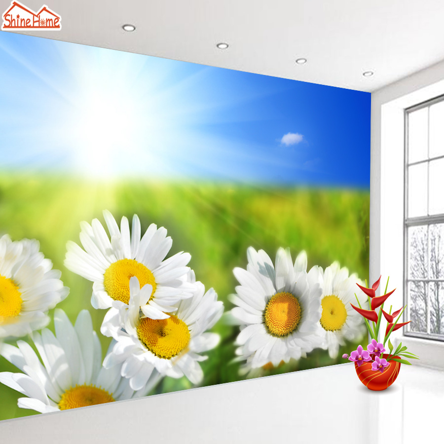 ShineHome-Floral Bloom Sunlight Wallpapers 3d Room Wallpaper for Walls 3 d  Living Room Wall Paper Murals Wallpaper Mural Roll shinehome maple leaf gold wallpaper mural for 3d rooms walls wallpapers for 3 d living room wall paper murals wallpaper roll