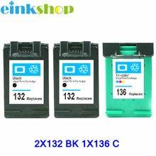 3pcs for HP 132 136 Ink cartridge for hp Photosmart 6540 6543 6548 7830 Officejet 6213 Deskjet 5443 D4163 PSC 1513 printer цена 2017