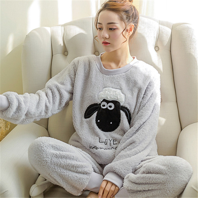 fd3a8110d355a Excellent quality Women fleece pajamas Pregnant Lady comfort sleeping  clothes flannel fabric fashion Young mother's sleepwear