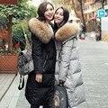2016 Mulheres parka zíper botão estilista longo inverno quente pele com capuz para baixo do revestimento do revestimento de lazer de alta qualidade grande tamanho S-XL